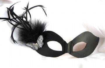 Genuine Handmade Italian Leather LADIES  Feather Mask ( WILL FIT OVER GLASSES )